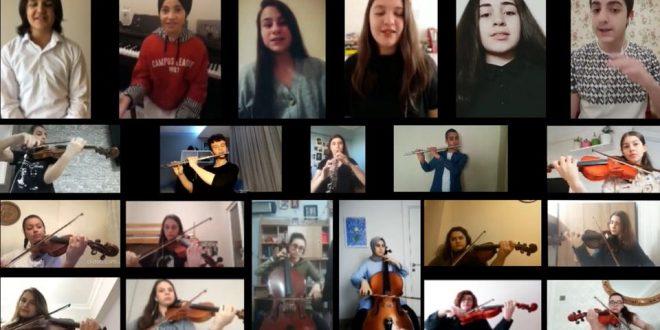 Başakşehir Güzel Sanat öğrencileri 19 Mayıs'ı evlerinden söyledikleri marşlarla kutladı